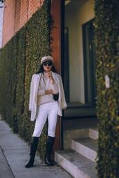 hallie daily,blogger,jacket,pants,shoes,sweater,hat,gloves