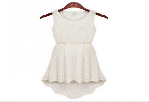 dress white dress white high low dress lace dress lace
