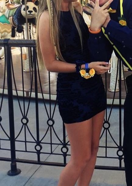 dress black and blue dress