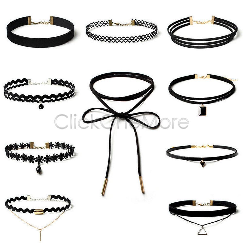 Set Choker Necklace Retro Gothic Chain Suede String Wrap Tie Velvet Pack of 10