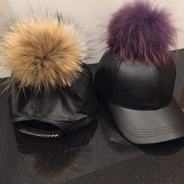 02bc71b4f58 hat created by fortune leather hat leather hats fur pom pom fur pompom