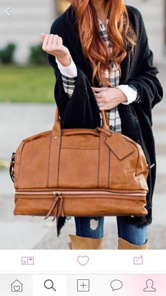 bag skinny jeans ripped jeans knee high boots weekender bag leather weekender bag brown leather bag leather bag blue jeans black cardigan oversized cardigan cardigan checked shirt