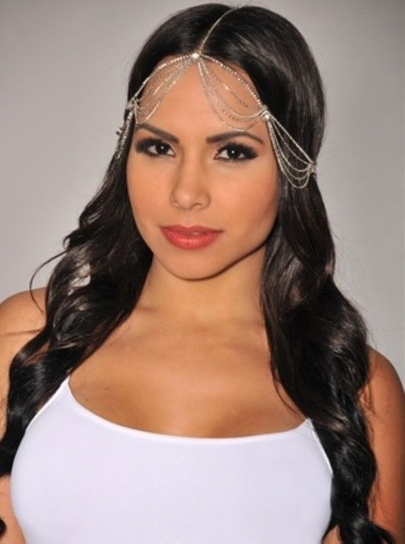 Bohemian Gypsy Draped Rhinestone Head Chain Head Piece Frontlet | eBay