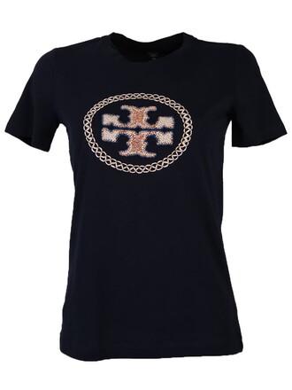 t-shirt shirt cotton t-shirt embroidered cotton blue top