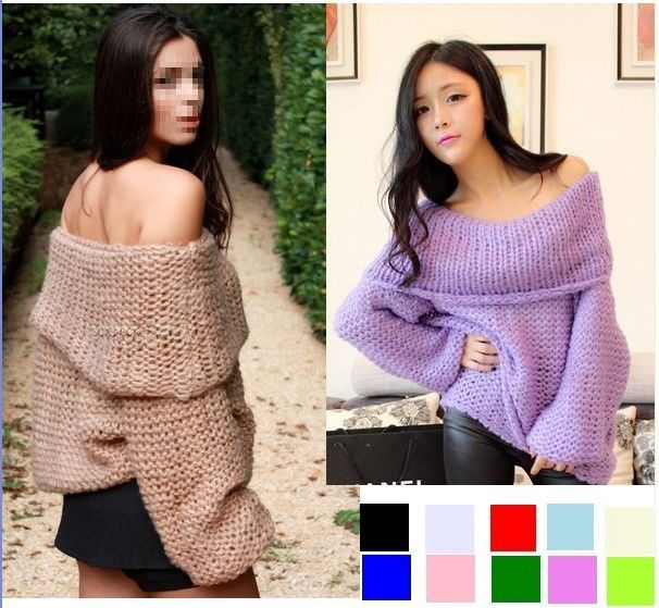 Lady Inspired Chunky Fuzzy Oversized Off Shoulder Loose Sweater ...