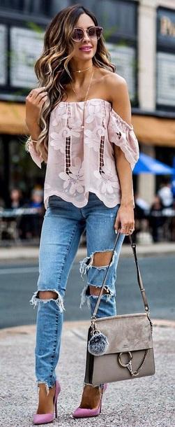blouse rose shoes
