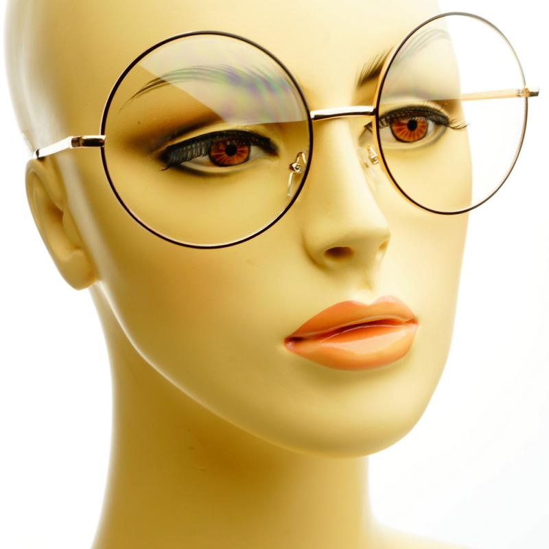 Vintage Retro Clear Lens Metal Oversized Circle Round Glasses Frames Black Gold | eBay