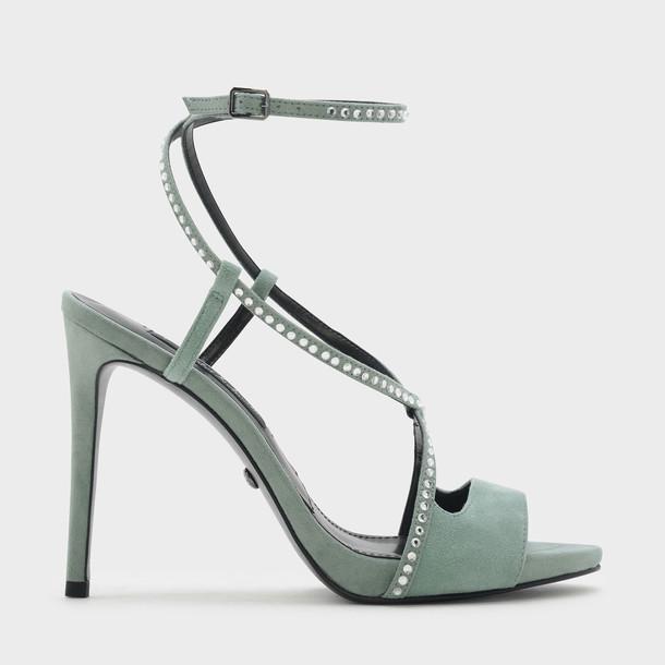 suede heels cross embellished heels suede green shoes