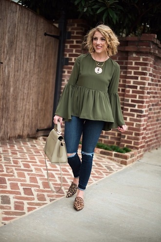 something delightful blogger top jeans jewels bag handbag green top fall outfits loafers