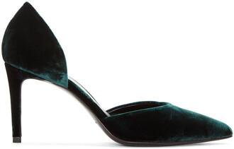 paris heels velvet green shoes
