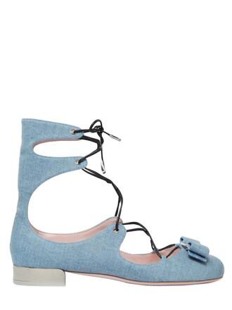 denim boots lace blue shoes