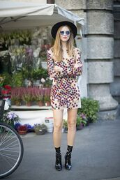 the blonde salad,blogger,dress,shoes,hat,sunglasses,fashion week,streetstyle,boots,chiara ferragni