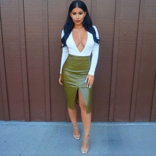 Olive Leather Skirt - Dress Ala
