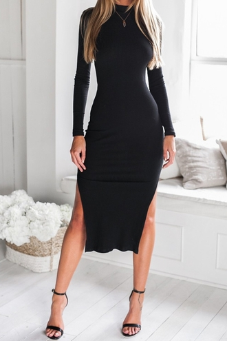 dress black sexy hot long sleeves black side slit backless long sleeve midi dress fall outfits
