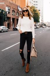 fashionjackson,blogger,sweater,jeans,shoes,belt,bag,sunglasses,ankle boots,white sweater,gucci belt,handbag,fall outfits