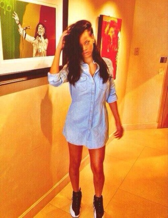 dress rihanna denim dress denim shirt