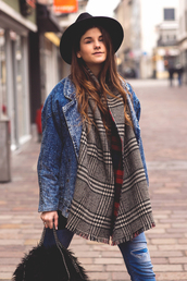 the fashion fraction,blogger,scarf,hat,tartan scarf,denim jacket
