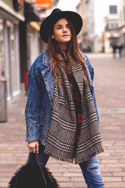the fashion fraction blogger scarf hat tartan scarf denim jacket