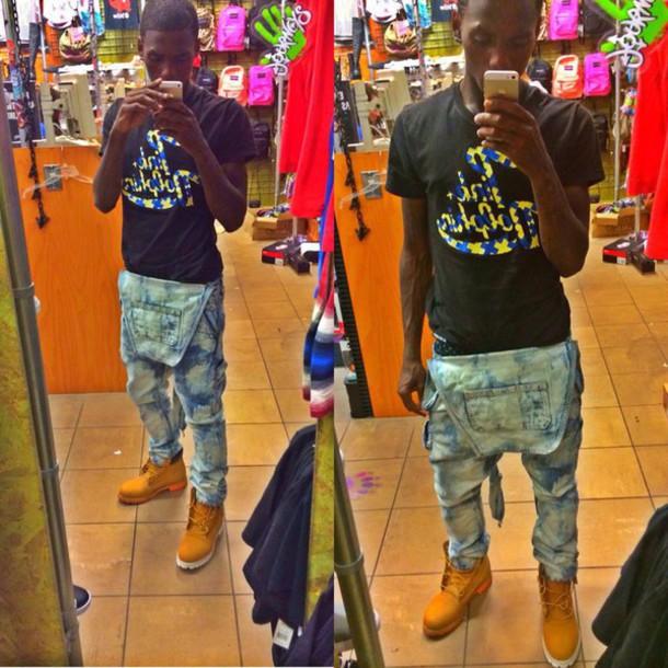 jumpsuit bleached overalls jeans famous dex chiraq chicago savage shoes denim jumpsuit menswear
