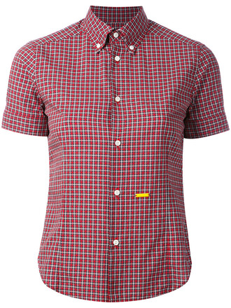 shirt checked shirt women cotton red top