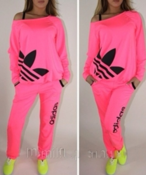 sweater hot pink neon adidas