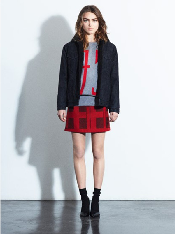 skirt fashion lookbook red claudie pierlot