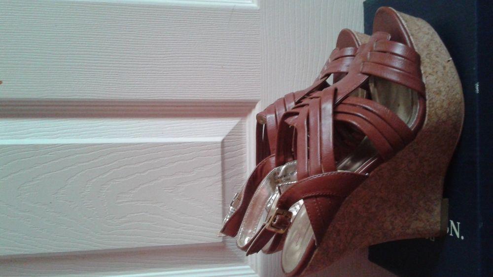 women's brown wedge sandals shoe size 8