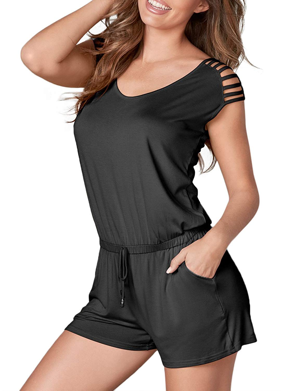 Amazon.com: Elapsy Womens Short Sleeve Drawstring Loose Fitting Romper Short Jumpsuit with Pockets: Clothing