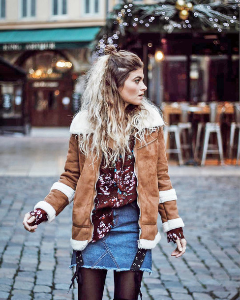 jacket tumblr camel camel jacket shearling jacket camel shearling coat shearling skirt mini skirt denim denim skirt