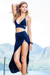 swimwear,bikini,sauvage,black,bottoms,d-cup,dd,full coverage,luxury,maxi skirt,womens sauvage,wrap top,navy,two piece dress set,set