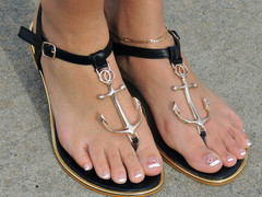 Black Anchor Sandals