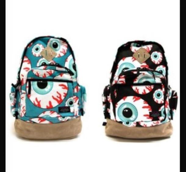 bag grunge pastel goth eyes creepy kawaii bookbag