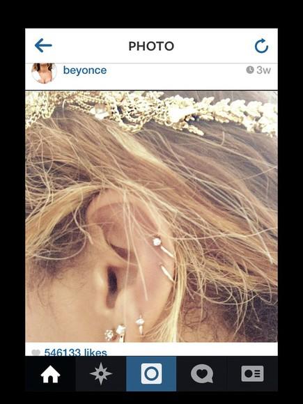 beyoncé jewels earrings cartilage piercing gold hoops diamonds