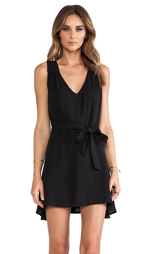 Donna Mizani Side Tie Flounce Dress in Caviar from REVOLVEclothing.com