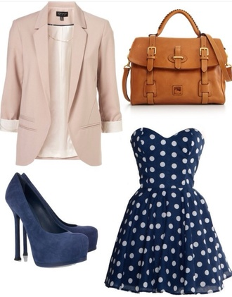 jacket dress polka dots