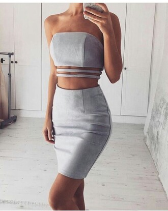 skirt two piece dress set two-piece clothes fashion stylish style clubwear trendy pencil skirt high waisted skirt top summer top cute top crop tops tube top sleeveless sleeveless top outfit outfit idea summer outfits cute outfits spring outfits date outfit party outfits grey top grey skirt grey crop top cute skirt