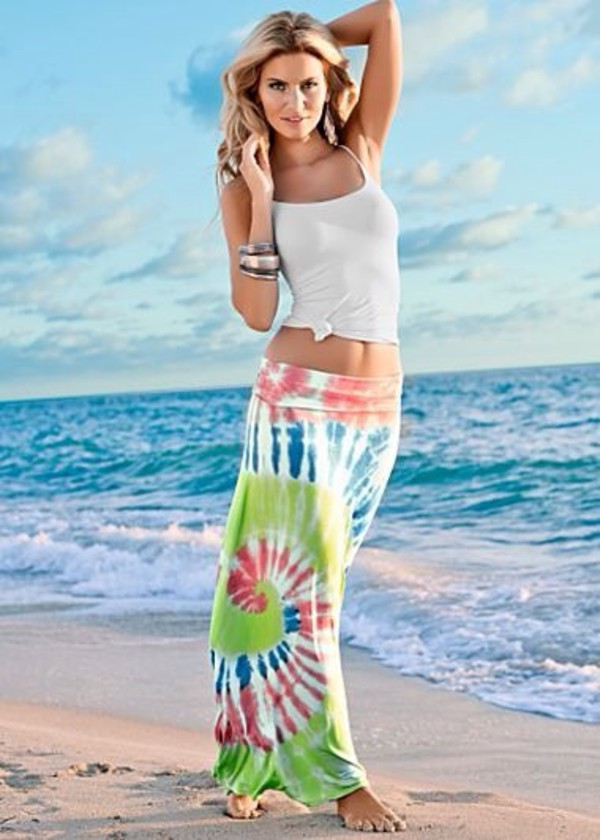 skirt beach colored maxi skirt