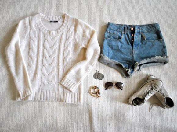shorts high waisted short hipster jeans sweater jumper swag sneaker fashion junper cable knit knitwear white clothes converse sunglasses cute jewels oversized crochet sweater denim shorts sunglasses