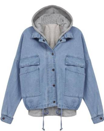 Sheinside Blue Hooded Long Sleeve Drawstring Denim Outerwear Jacket at Amazon Women's Coats Shop
