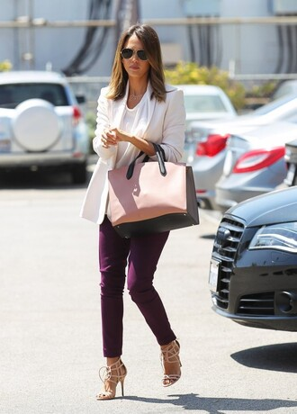 shoes jessica alba pants jacket bag