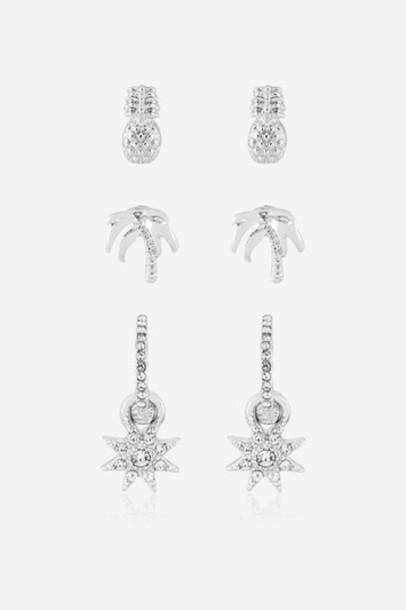 Topshop pineapple earrings silver jewels
