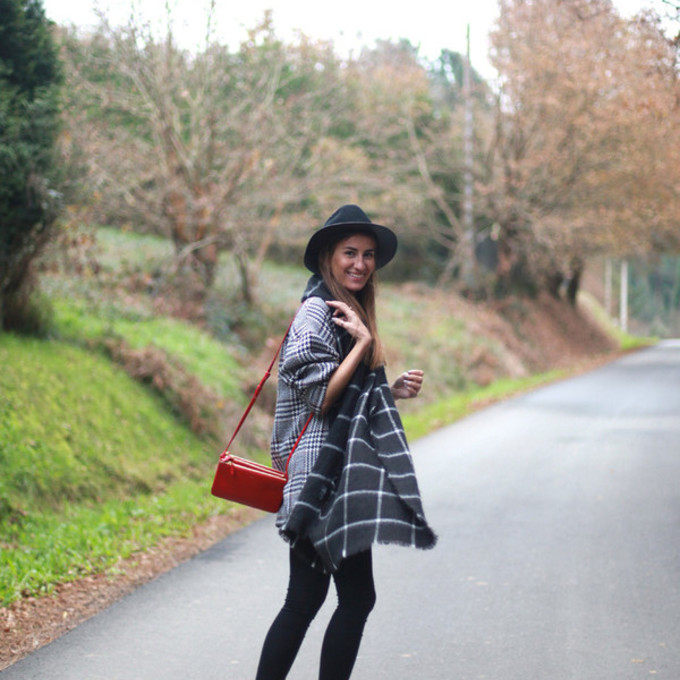 blogger red bag checkered b a r t a b a c blanket scarf fedora black boots scarf red