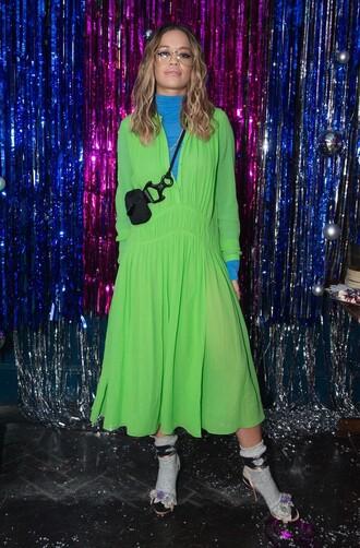 dress neon top rita ora fall outfits midi dress shoes