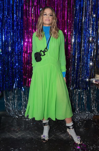 dress neon top rita ora fall outfits midi dress shoes