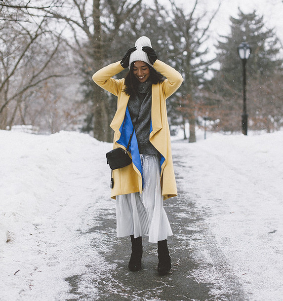 honey n silk blogger coat gloves pleated skirt winter outfits yellow coat sweater skirt shoes hat bag