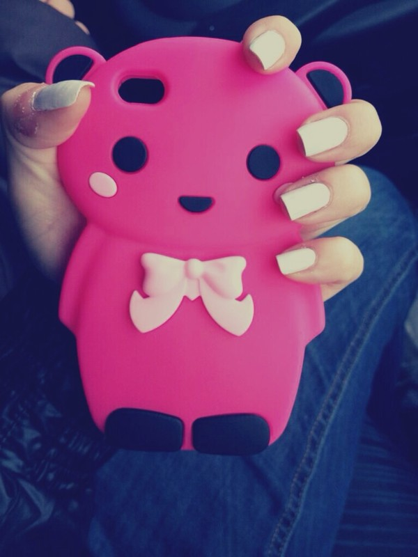jewels phone cover phone cover pink teddy teddy bear cute