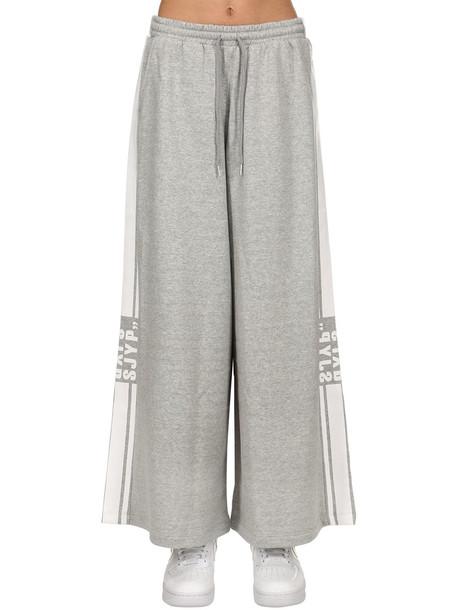 SJYP Wide Leg Logo Stripe Tape Sweatpants in grey