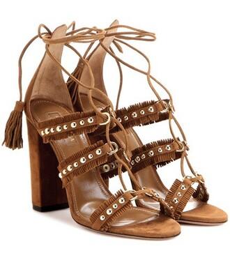 embellished sandals suede brown shoes