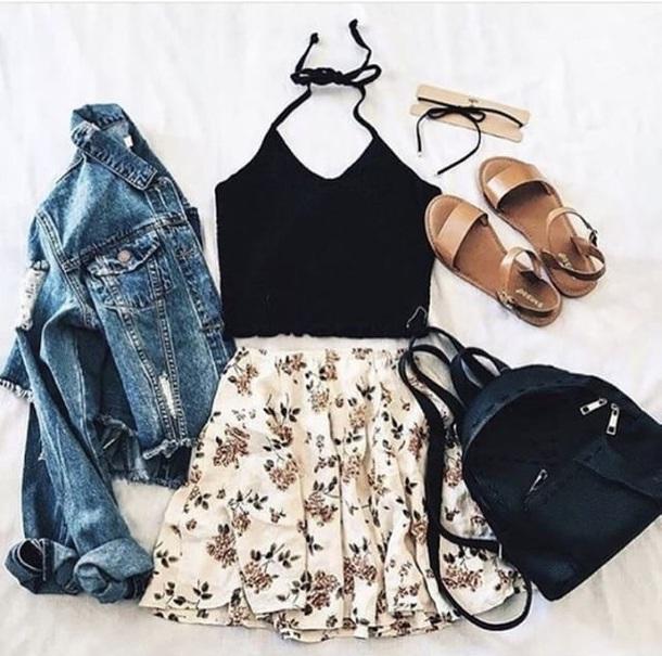 skirt top tank top black black boots black top flower skirt floral