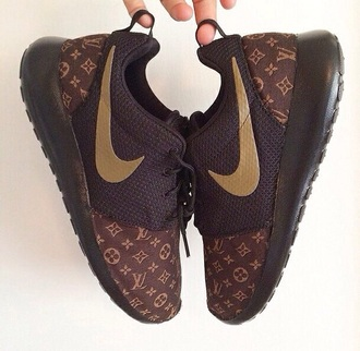 shoes nike roshe run louis vuitton brown shoes